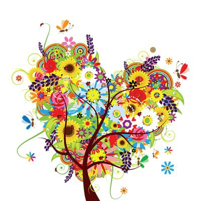 Whimsical Heart Of Flowers Floral Tree 1 Shower Curtain ...