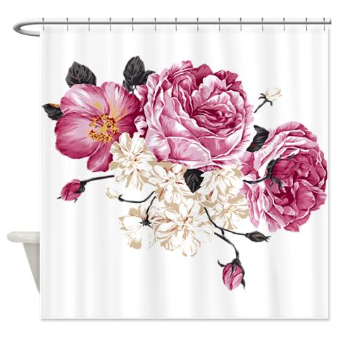 ... Antique Pink And White Roses Shower Curtain.  Antique_pink_and_white_roses_shower_curtain
