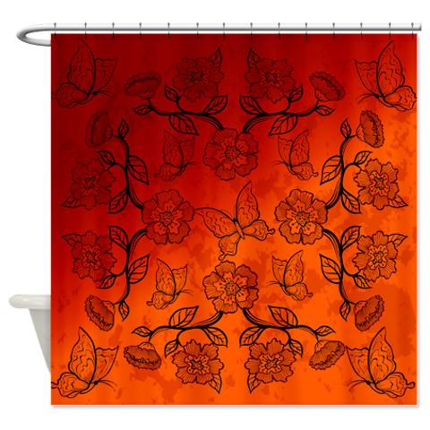 Asian Inspired Floral Butterflies Shower Curtain Asianinspired