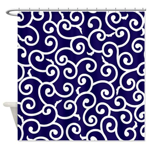 Blue Shower Curtain Batik 2a
