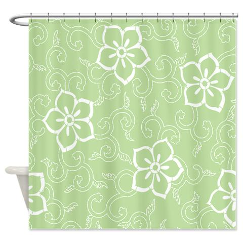 batik_2h_green_shower_curtain.jpg