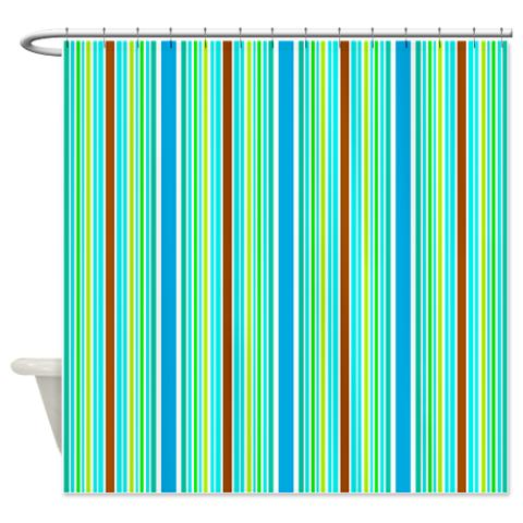 Blue Green Brown Stripes Shower Curtain