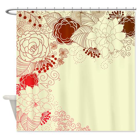 Magenta Shower Curtain Bold Brown Red And