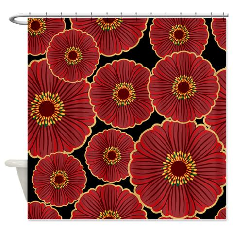 bold oriental flowers on black shower curtain  kawelamolokai, Beautiful flower