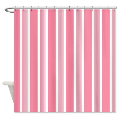 Pink Stripes Shower Curtain Bold