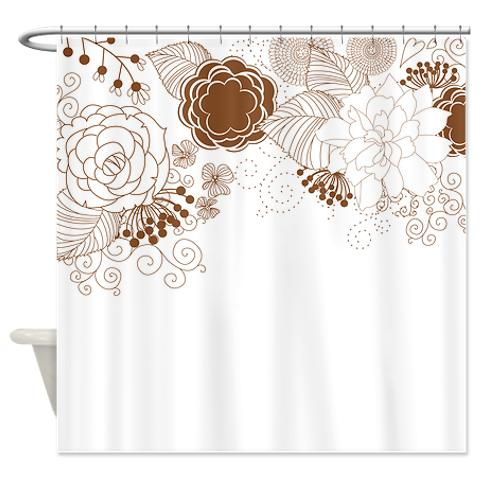 White Floral Shower Curtain Brown And