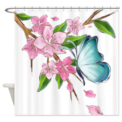 Curtains Ideas butterfly shower curtain : Butterfly Cherry Blossom Watercolor Shower Curtain | KawelaMolokai.com