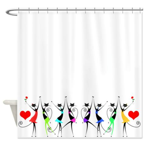 colorful_whimsical_black_party_cats_shower_curtain.jpg