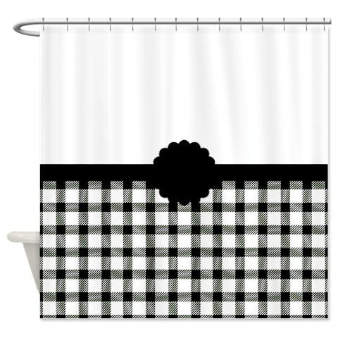 Country Chic Black And white Gingham Shower Curtain | KawelaMolokai.com