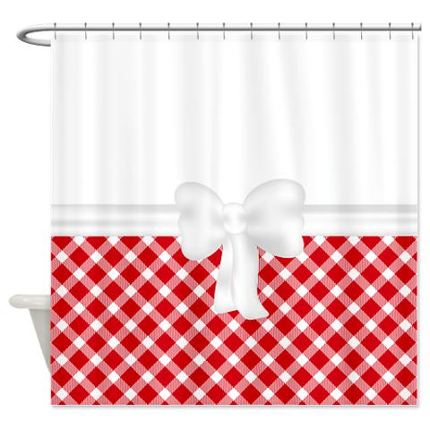Country Chic Red And White Gingham Shower Curtain | KawelaMolokai.com