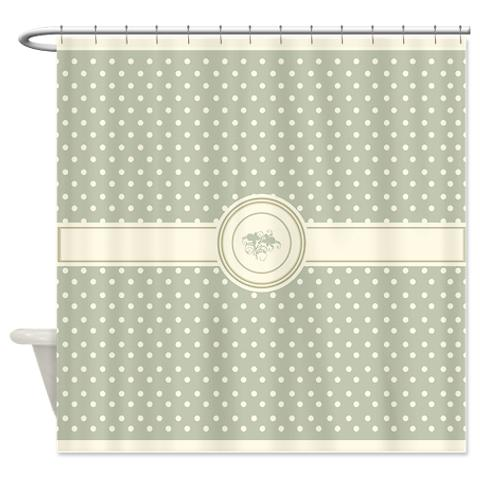 cream_on_drk_sage_floral_polka_dots_shower_curtain.jpg