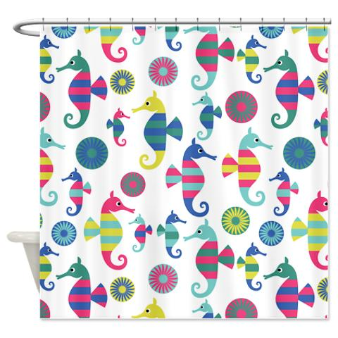Colorful Seahorses Shower Curtain Cute