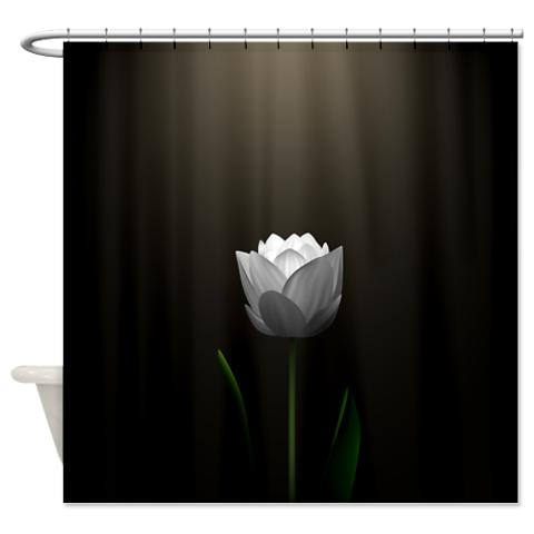 Dark Brown Lotus Blossom Shower Curtain