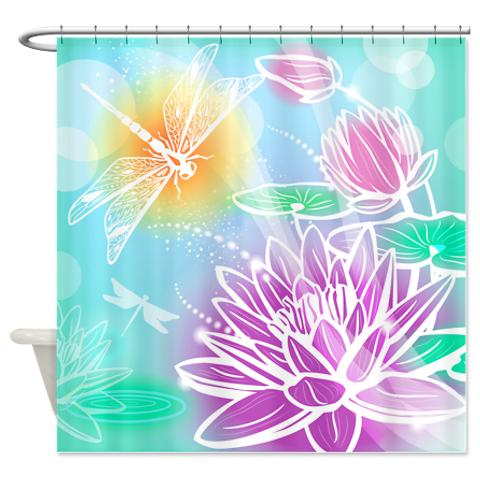 Dragonfly Lotus Shower Curtain Dreamy