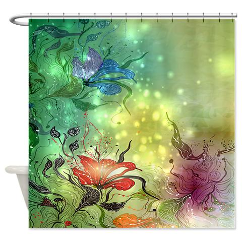 fantasy_green_floral_abstract_shower_curtain.jpg
