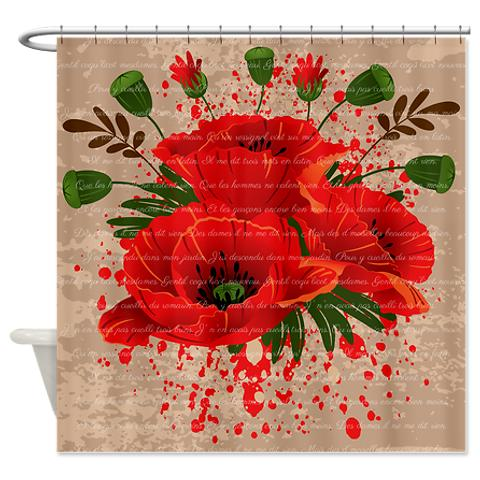 French Red Poppies Melody Shower Curtain