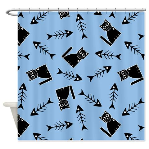 funny_stylized_cat_and_fish_bone_pattern_shower_cu.jpg