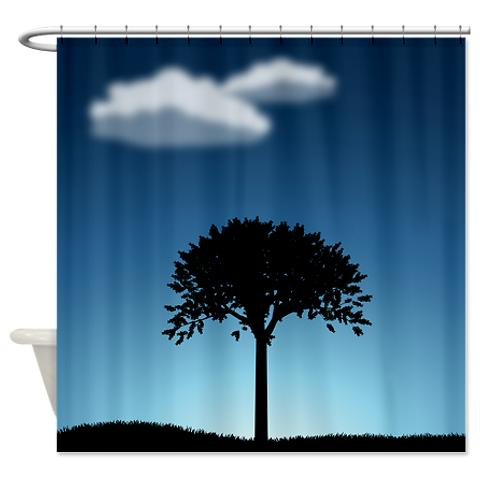 Landscape Shower Curtain Lonely Tree