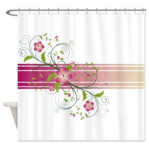 Pink Green And Beige Floral Swirl Shower Curtain