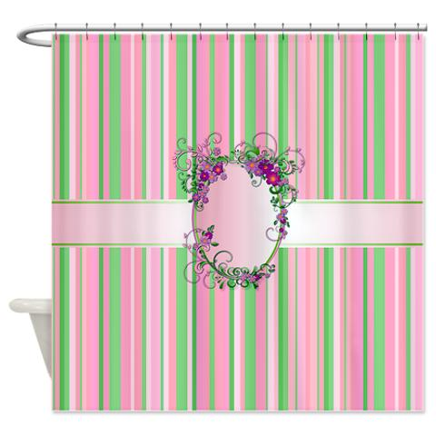Green And White Stripes Shower Curtain Pink