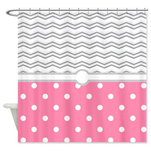 Exceptionnel ... Polkadot Pink Grey White Zigzag Shower Curtain.  Polkadot_pink_grey_white_zigzag_shower_curtain