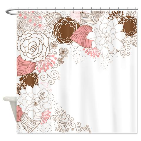 Shower Curtains Pink And Brown.Pretty Pink Brown White Floral Shower Curtain Kawelamolokai Com