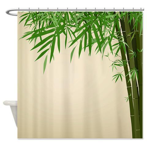 Bamboo Print Shower Curtain Antique Jpg