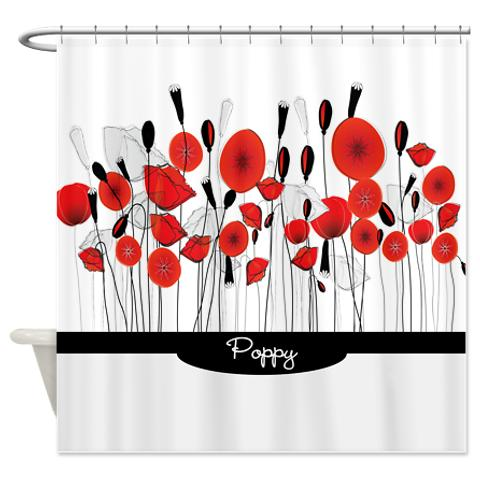 Red Poppy Doodle 1 Shower Curtain Whimsical Jpg